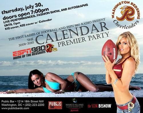 7.30.09 - redskins cheerleaders calendar party