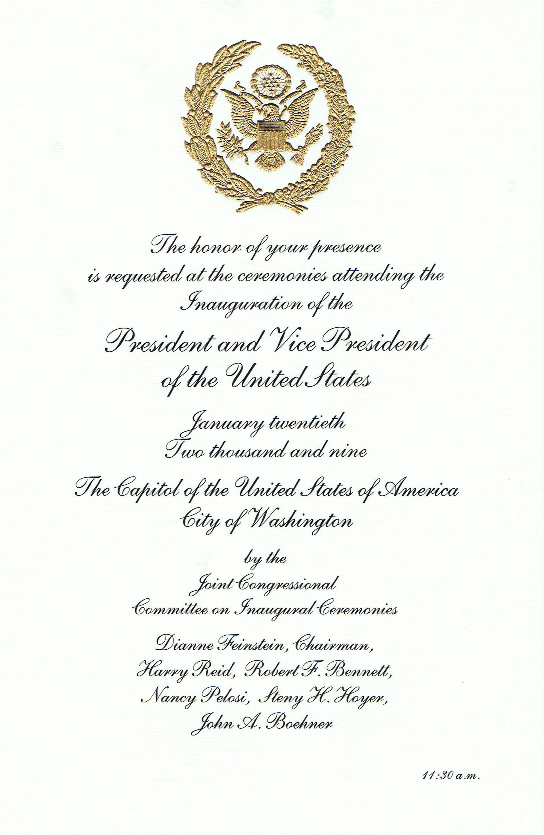 the honor of your presence is requested  the inauguration