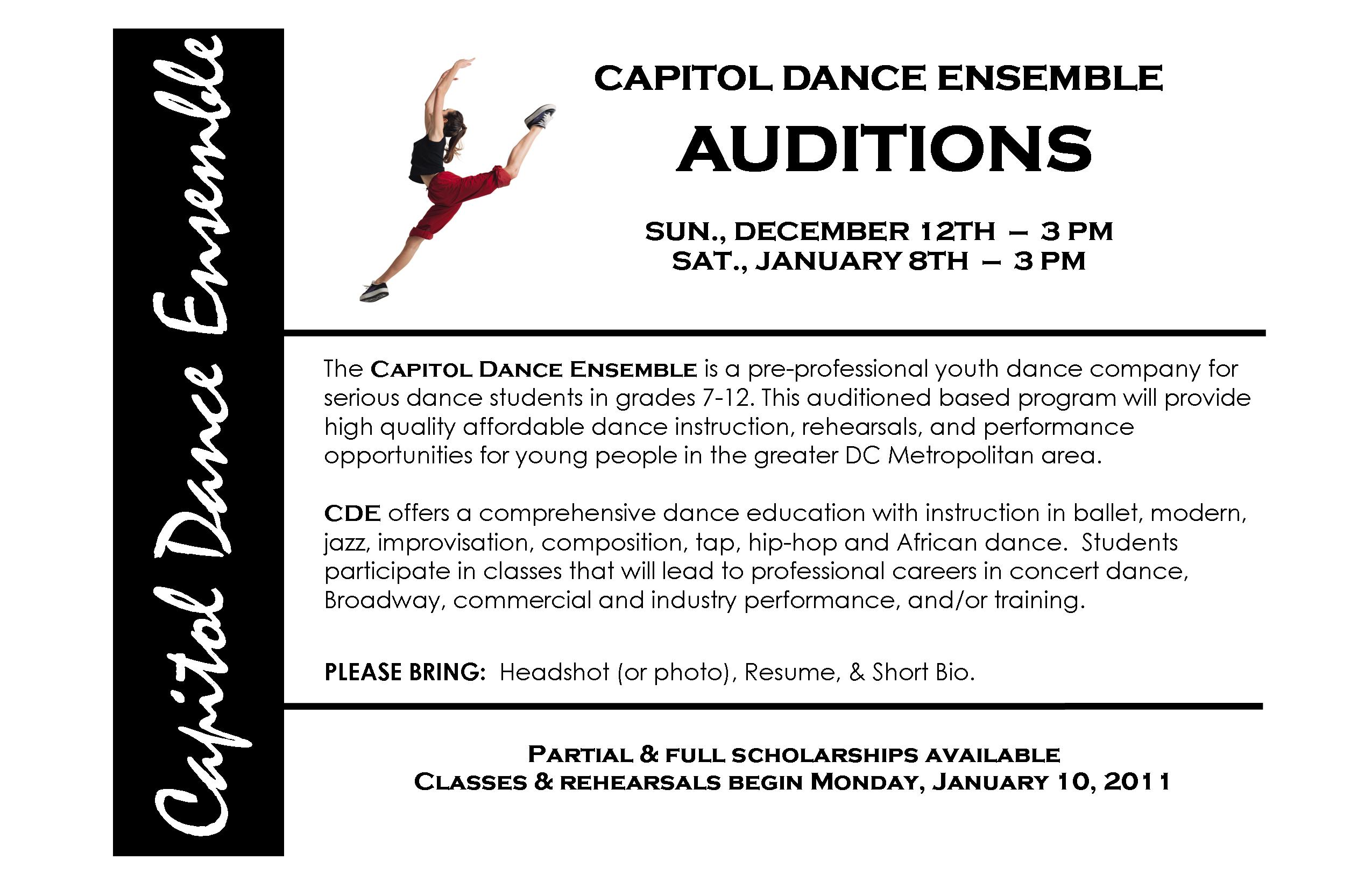 dance audition resumes